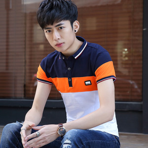 男士有领短袖t恤韩版修身条纹男装体恤青年翻领半袖撞色POLO衫潮