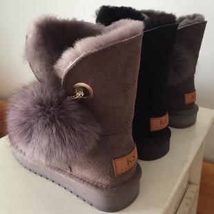 【baby同款】真皮羊毛中筒雪地靴