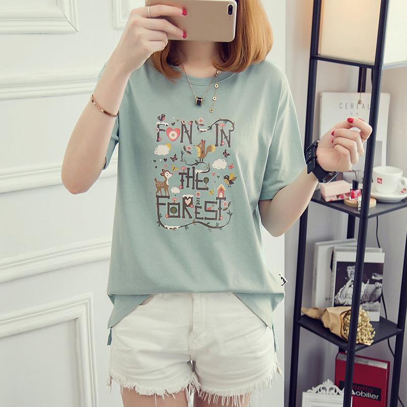 6317#实拍短袖t恤女韩版衣服夏装2018夏新款打底体恤衫短袖上衣女