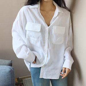 ~推荐! 韩国 chic #1730  简约双口袋宽松白衬衫女