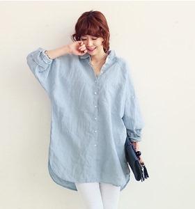 现货 早春推荐!韩国 chic #7008 宽松长款大码衬衣女长袖衬衫