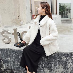 东大门秋冬女羊羔绒皮毛一体短款外套