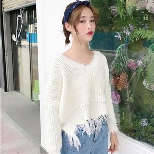 Đầu mùa thu mới của phụ nữ lỏng mỏng tay áo V-Cổ hoang dã tua thô sinh viên dài tay đan áo len tops