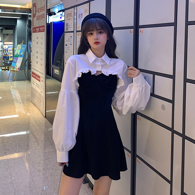 taobao agent Fried street suit 2021 new female spring and autumn two-piece skirt western style fashion temperament goddess suspender dress