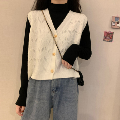 taobao agent Vest vest knitted cardigan upper clothes jacket women's early spring and autumn 2021 new bottoming shirt with ins tide