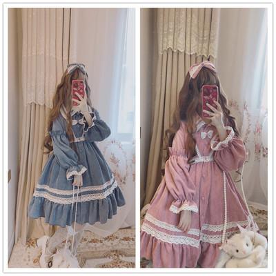 taobao agent Doujiang original autumn and winter【Jelly beans】Lolita soft girl big skirt corduroy long-sleeved dress suit
