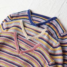 彩虹套头毛衣女2018春秋新款V领宽松条纹学生上衣撞色长袖针织衫
