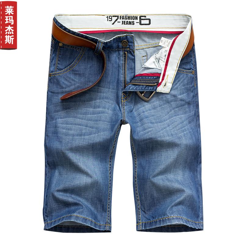 Laimajiesi nam mùa hè ăn mặc phần mỏng quần short nam denim của nam giới quần denim thẳng kích thước lớn 5 quần nam triều