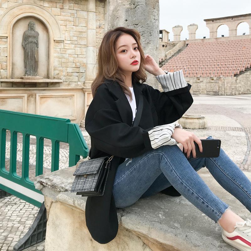 Mùa thu mới của Hàn Quốc Dongdaemun phiên bản lớn quá khổ nhỏ phù hợp với áo khoác nữ một nút trong đoạn dài phù hợp với chic
