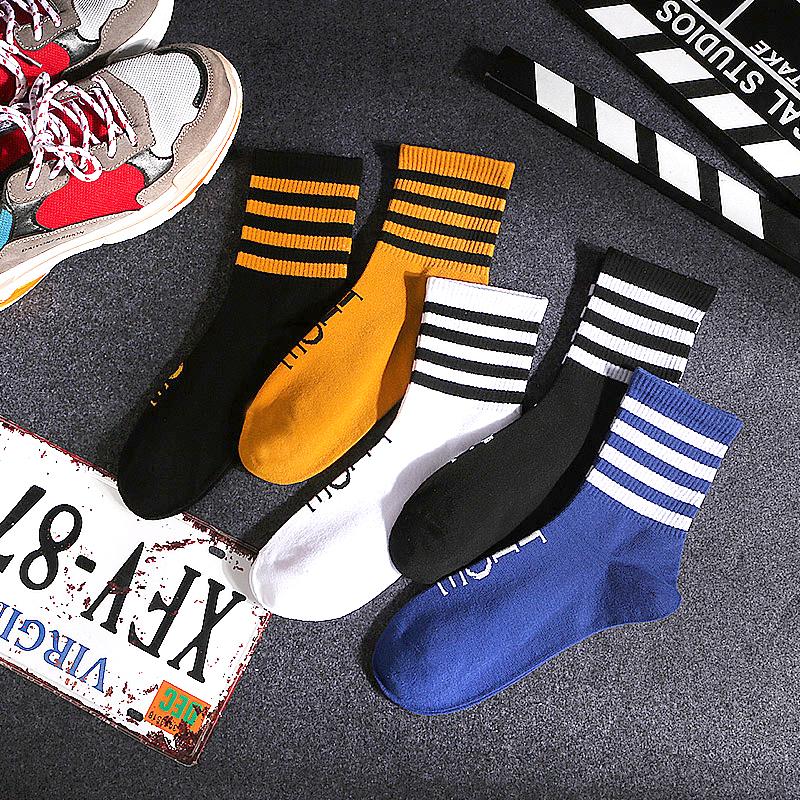 袜子男女生中筒潮流韩版aj学院风条纹长高腰网红篮球运动街头嘻哈