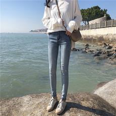 实拍8188#女装春款百搭高腰牛仔裤简约磨白长裤弹力修身小脚裤