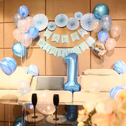 鸡宝宝一周岁生日布置用品 气球装饰背景墙 生日派对儿童公主男孩淘宝优惠券