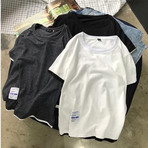 QT3011*T11*P25 假两件短袖T恤 日系拼色纯棉T恤男 (控价38)