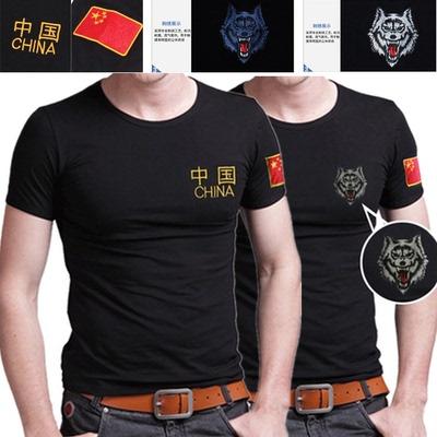 Trung quốc logo nam ngắn tay t-shirt áo khoác quân sự Slim V-Cổ đen lòng từ bi áo sơ mi thương hiệu XL thanh niên