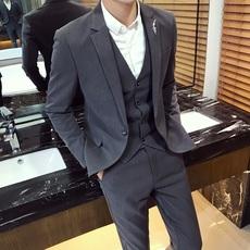 西服套装男高档西装马甲裤子三件套