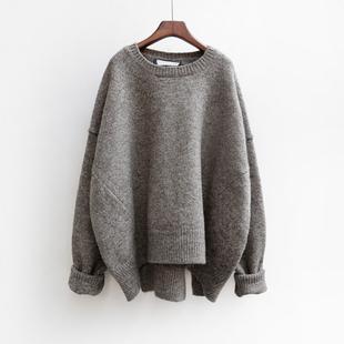 【哈淑芬】春季韩版宽松毛衣中长款慵懒风