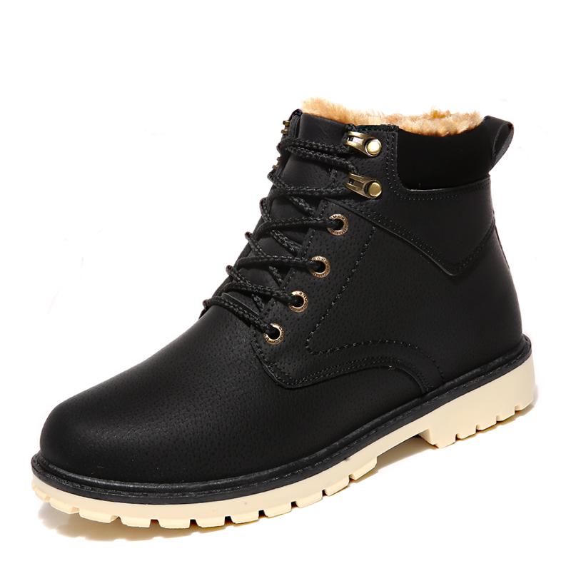 2018新男士棉鞋子保暖加绒加厚东北雪地靴防水冬季高帮马丁皮靴6