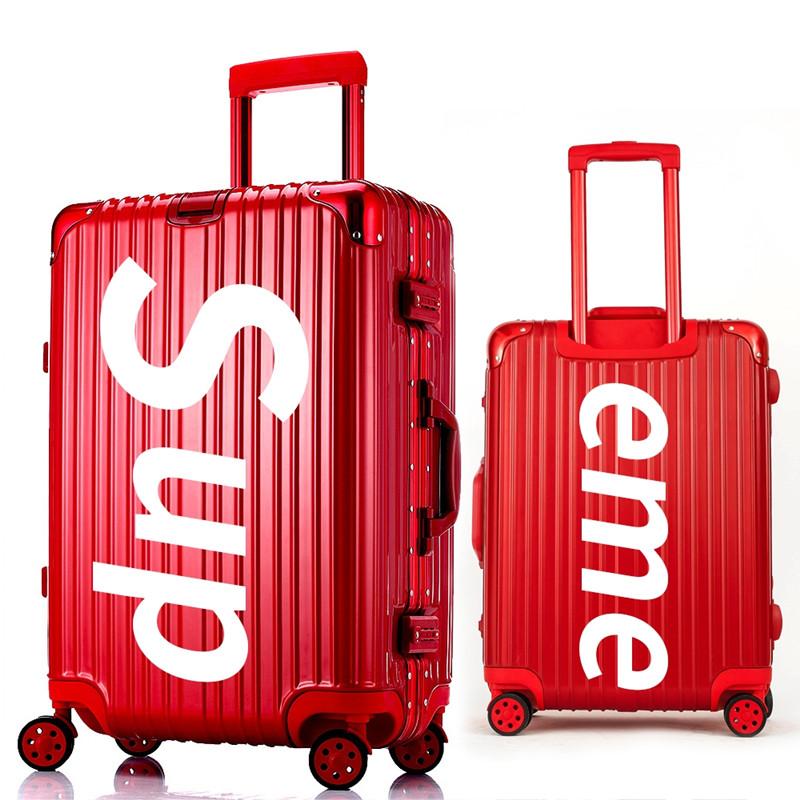 SUP đám cưới khung nhôm vali phổ bánh xe hành lý cứng trường hợp 22/26/29 inch xe đẩy đám cưới vali da vali - Va li
