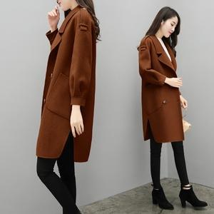Áo phụ nữ phần dài Hàn Quốc 2018 mùa xuân mới caramel màu áo len đèn lồng tay áo, phong cách áo len