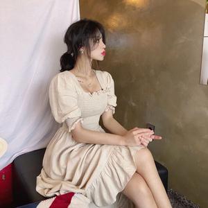 韩国鬼马系 魅力气质纯色方领短袖修身长款连衣裙