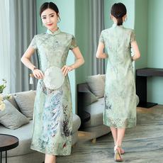 奥黛风旗袍 绿孔雀2018新款复古改良蕾丝短袖修身中国风连衣裙