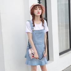 8056新款2017春夏韩版女装荷叶边减龄牛仔背带连衣裙实拍