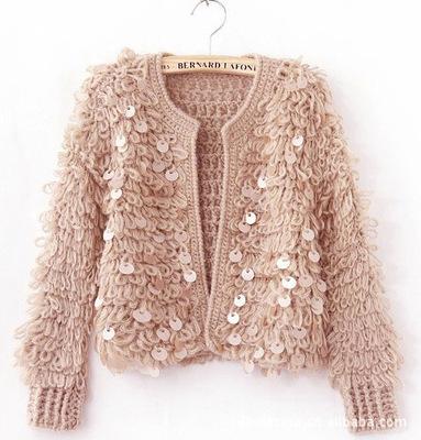 Hàn quốc phiên bản của mùa xuân và mùa thu nhỏ hương thơm vòng tròn áo len mohair handmade stick kim cardigan sequins áo len áo khoác khăn choàng Cardigan