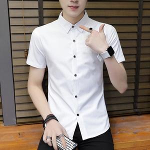 夏季韓版潮流短袖襯衫男士修身款帥氣襯衣服夏天純色薄款休閑寸衫