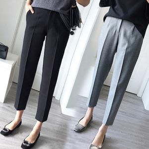 Phù hợp với màu đen quần nữ Hàn Quốc phiên bản của quần thẳng quần chín quần âu quần harem quần chân feet quần quần dụng cụ quần
