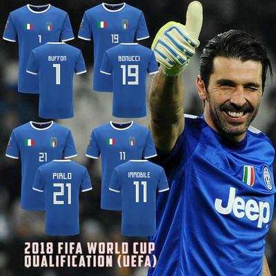 2018 World Cup Ý đội tuyển quốc gia Buffon nam giới và phụ nữ cotton ngắn tay T-Shirt đồng phục bóng đá đội áo từ bi