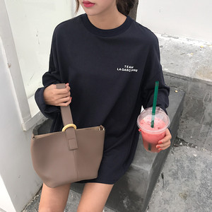 实拍2018 韩国chic秋装字母印花落肩中长款长袖T恤宽松百搭上衣