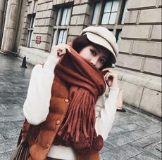 2017秋冬新款韩国纯色百搭流苏大毛球围巾女长款超大保暖两用披肩