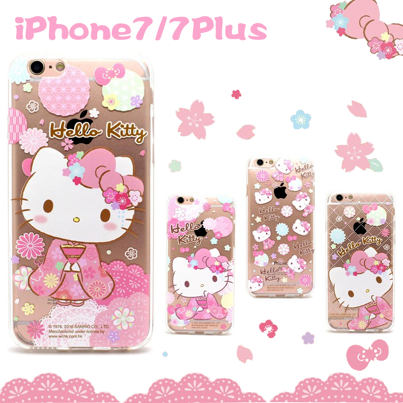 Hello Kitty Kimono Transparent TPU Soft Back Cover Case for Apple iPhone 7 Plus & iPhone 7