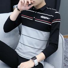 秋季长袖t恤男韩版学生有带领上衣男春秋青少年POLO衫打底衫