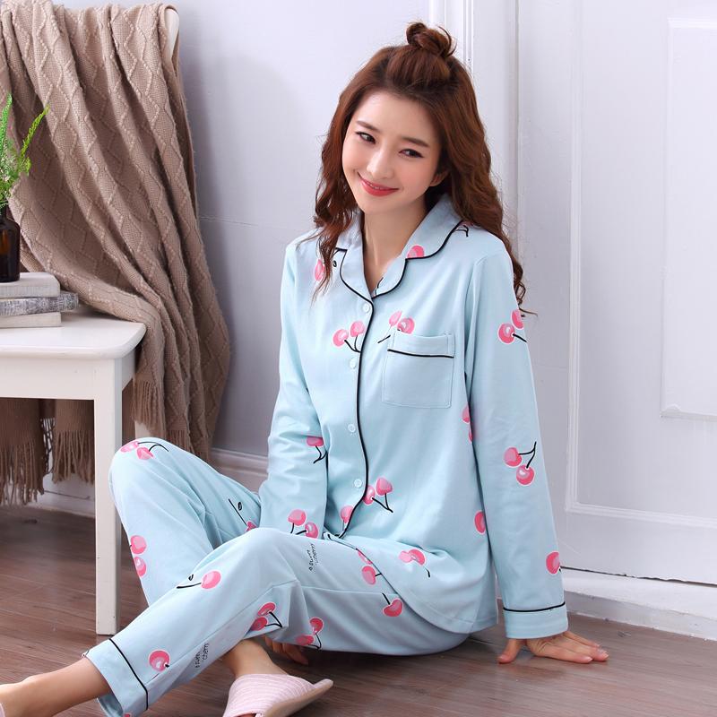 Mùa xuân và mùa thu mùa đông đồ ngủ của phụ nữ dài tay cotton mỏng cardigan quần có thể được đeo bên ngoài bông tháng nhà dịch vụ phù hợp với