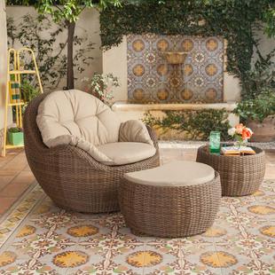 Виноградная лоза диван сочетание гостиная столы и стулья ротанг мебель творческий небольшой квартира балкон бездельник плетеный стул диван три образца
