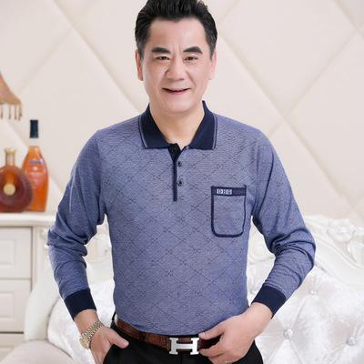 Người đàn ông trung niên của mùa thu dài tay t-shirt 50-60-70 tuổi ông nội áo len đan sọc áo sơ mi quần áo già áo thun polo Áo phông dài