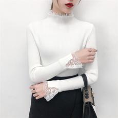 503#实拍!!2018最新款加厚纯色蕾丝花边袖修身打底衫上衣女