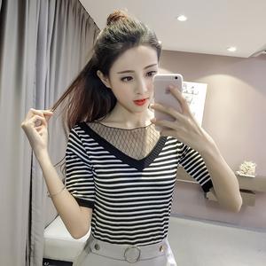 807#亚博娱乐平台入口!2017夏季新款韩版修身显瘦短袖V领网纱拼接针织衫T恤女