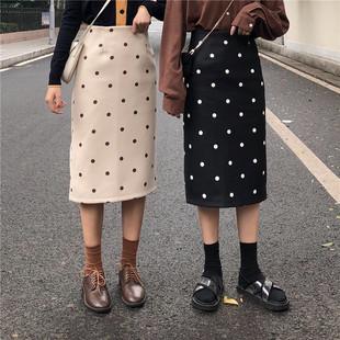 Большой двор в горошек юбка девочки длинная модель 2018 новинка зимний осеннний жир mm талия платье трещина шерстяной пакет бедра юбка