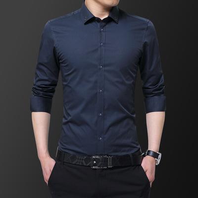 秋季青年男士长袖衬衫2019韩版绣花寸衫男装商务休闲修身型衬衣男