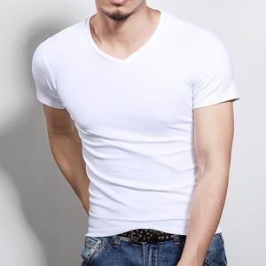 AG短袖t恤男士打底衫V领纯色黑色修身半袖潮夏装衣服运动体恤