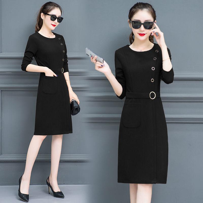 连衣裙女长袖2019女装新款韩版中长款一步裙子修身显瘦包臀裙