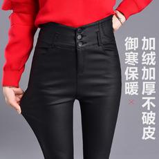 实拍秋冬皮裤女新款薄款外穿弹力紧身单排扣高腰加绒长裤显瘦1823