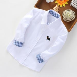 Trẻ em mặc trẻ em cotton dài tay áo trẻ em lớn của mùa xuân và mùa thu mặc cậu bé dài tay áo trẻ em cotton kẻ sọc áo sơ mi