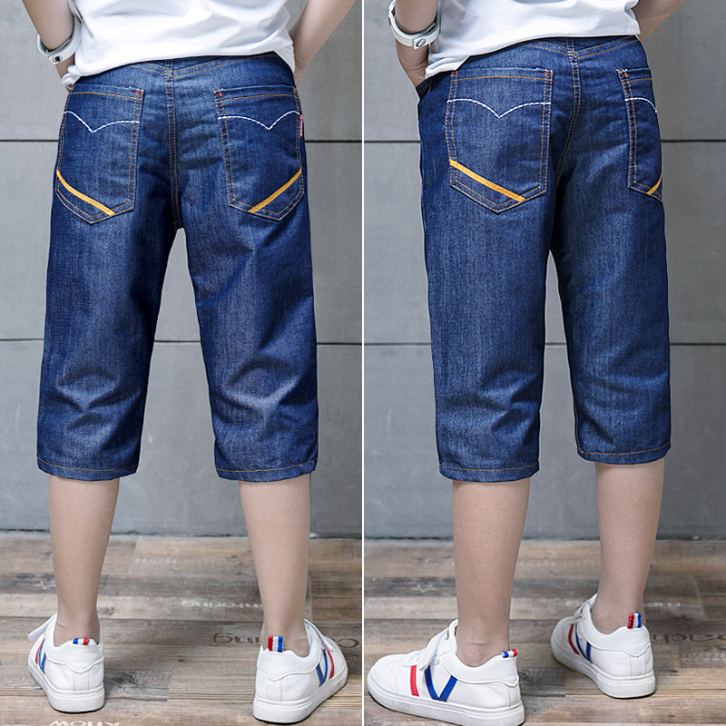 Trai quần short mùa hè mỏng bảy quần trong quần trẻ em lớn cotton lỏng giản dị ống túm quần jeans