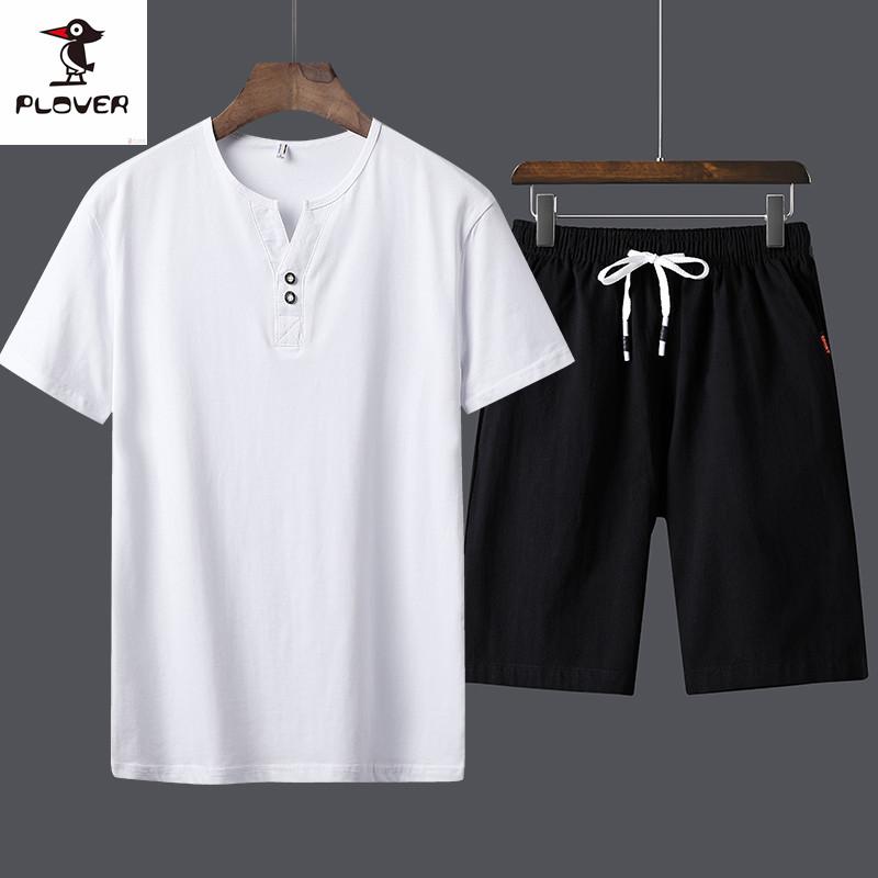 啄木鸟潮男新款休闲韩版T恤套装