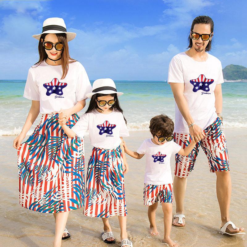 亲子装T恤夏季薄款纯棉短袖男装女士女童