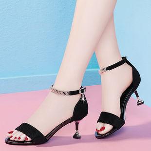 夏季韩版百搭中跟一字扣性感鱼嘴猫跟高跟鞋