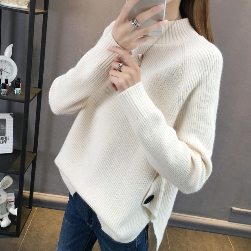 毛衣女秋冬季新款韩版半高领开叉宽松加厚针织衫纯色打底衫P71